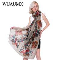 Wholesale scarf bandana style resale online - Wuaumx Ethnic Style Flowers Scarf Women Cotton Linen Shawls Wraps Floral Scarf Soft Satin Bandana Basic Scarves Female cm