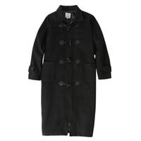 männer sind lange jacken großhandel-Männer Wolle Mäntel Jacken Winter Cashmere Jacke Mann langen Abschnitt Einreiher Mantel Umlegekragen Lässige Wollmantel