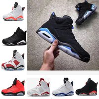 Wholesale Maroon Purple - 2018 6 6s UNC men Basketball shoes Alternate Hare Carmine White Infrared Black Cat sports blue Maroon Angry bull Chrome sports sneaker
