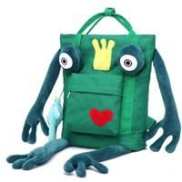 mochilas homem personalizado venda por atacado-Novo saco dos desenhos animados bonito sapo mochila homens e mulheres estudantes saco saco de viagem de lona personalizado
