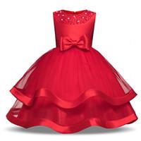 vestido de novia princesa verano al por mayor-Vestido de encaje sin mangas de la muchacha del verano para la boda Vestidos florales de la capa del cumpleaños de los niños Nueva princesa del vestido del vestido ropa de la muchacha adolescente