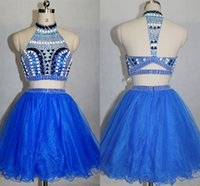Wholesale Sexy Mini Dress Rhinestone - Royal Blue Two Pieces Homecoming Dresses 2018 High Neck Backless Beaded Rhinestones Crystals Cocktail Dresses Short Prom Gowns HY00869