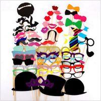 bigote labios gafas palo al por mayor-Lot58pcs / set Divertido DIY Photo Booth Atrezzo Gafas Bigote Labio En Un Palo Fiesta de Cumpleaños de Boda Decoración Divertida Regalo de Halloween