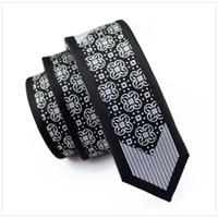 schwarze skinny krawatte männer kleid großhandel-2017 mode Schlank Krawatte Schwarz und Grau Muster Dünne Schmale gravata Seide Krawatten Für männer 6 cm breite hochzeitskleid E-126