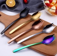 acero inoxidable color oro al por mayor-Top Choice Colored Stainless Steel 304 Spork Noodle Forks, Brillante Plata Oro Cobre Negro Rainbow Spork SN482