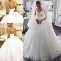 casamento maduro venda por atacado-Vendendo vestidos de casamento maduros espaguete pérola frisada querida tule princesa vestidos de noiva sem encosto Lace UP vestido de baile vestidos de casamento