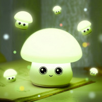 Wholesale Mushroom Nursery - Lovely Mushroom Silicone Soft Led Night light Rechargeable USB Cartoon Night Lamps For Baby Nursery Children Gifts