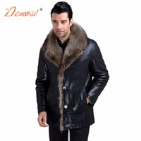 Wholesale Male Leather Wool Clothing - Wholesale- 2017-18 Brand new men's leather jackets fashion black luxury raccoon fur lined coat male clothing real fur oversize men fur coat
