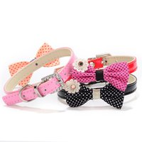 Wholesale Xxs Leather - Cute Flower Bow Dots Soft Suede Leather Dog Puppy Cat Collars Pu Leather with Adjustable necklace 3 color 2 size XXS XS