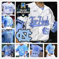 c1c15cae1 UNC North Carolina Tar Heels  34 Caden O Brien 3 Kyle Datres 45 Austin  Bergner 2018 NCAA CWS College Baseball White Blue Jerseys S-4XL