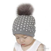 Wholesale kid crochet hat for sale - Ins baby warm witner crochet cotton hats with top fluffy ball new fashion kids boys girls dot hedging caps hats BH41