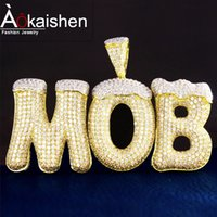 Wholesale Custom Name Snow Top Bubble Letters Necklaces Pendant Cubic Zircon Mens Hip Hop Jewelry With Rope Chain For Chirsmas Gift
