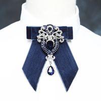 männer zwei tone bogen krawatten großhandel-2018 männer frauen original luxus Strass fliege blaue hochzeit krawatten samt krawatte gravatas borboleta kraagje nep dames
