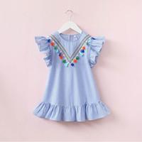 kız boyunları tasarımı toptan satış-Kızlar Çizgili Elbise Püsküller ile Lotus Yaprağı Kol Yuvarlak Boyun V Tasarım Bebek Kız Etek Kıyafet 3-7 T
