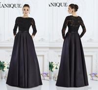 janique gowns toptan satış-2019 Janique Siyah Uzun Kollu Örgün Törenlerinde A-Line Jewel Dantel Boncuklu anne Gelin Elbiseler Custom Made Kadınlar Akşam giymek