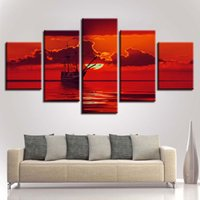 Wholesale sun room panels online - Living Room Decor Wall Art Frame HD Printed Pieces Ship Cloud And Red Sky Sun Seascape Modular Canvas Paintings Poster Picture