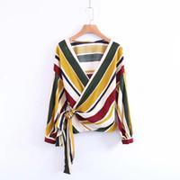 cross print chiffon shirts 2018 - Euro Fashion Women Clothes V-neck Long Sleeve Stripes cross-design Women Elegant Blouse & shirt