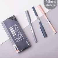 Wholesale color box ink resale online - 12pcs box Black Ink Refill Gel Pens M G A0403 Smooth Writing mm Needle Tip Solid Color Fashion Pens School Office Supplies
