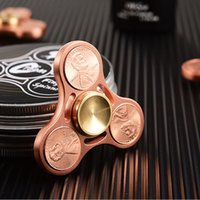 Wholesale Copper Spinners - High Quality Fidget Tri-spinner Copper coins Hand Spinner Fidget Toy Rotation 7 minutes Spinners For Enthusiasts Fidget