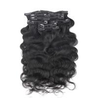 bakire saç tokası uzantıları toptan satış-Evermagic Saç Vücut Dalga Brezilyalı Bakire Saç Klip İnsan Saç Uzantıları 14-26 inç 7 Adet / takım Doğal Renk 120 g / takım