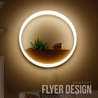 Wholesale light decoration restaurant - LED Wall Lamp Round Wall Light Acrylic Ring Lobby Bedroom Hotel Corridor Restaurant Dinning Room Bar Decoration Novelty Items OOA5029