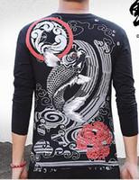 Wholesale Fishing Shirt Xl Long Sleeve - Men's Hip Hop Vintage Slim Style T-shirt Carp Fish Printing Tattoo Design O Neck Long Sleeve T-shirt Elastic Fabric Size XS-2XL