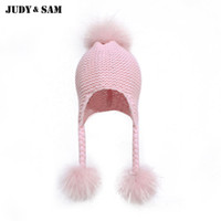 Wholesale kids winter apparel for sale - Group buy New Coming Children Winter Warm Knit Beanies Cute Kids Hats Elastic With Matching Pompom Apparel Accessories Genuine Fur