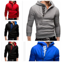 Wholesale wholesale solid color sweaters - Man large size solid color side zipper hoodie men Long sleeve stand collar letter prints kangaroo pocket sweater Jumper Hoodie KKA4226