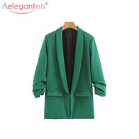 yarım kollu blazerler toptan satış-Aelegantmis Ofis Kadınlar Casual Hırka Blazer Ceketler İlkbahar Sonbahar Yeni Katı Renk Bayanlar Blazers Çentikli Yarım Kollu Dış Giyim
