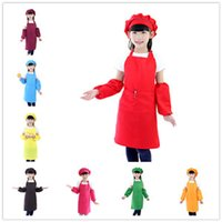 Wholesale Hat Cooks - Dropshipping 3pcs set Children Kitchen Waists 10 Colors Kids Aprons with Sleeve&Chef Hats for Painting Cooking Baking ..
