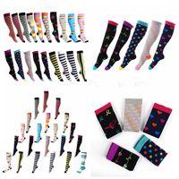 Wholesale nylon compression socks for sale - Group buy 40styles Unisex Stocking floral Socks Men Women Sport elastic compression socks high long tube running Outdoor Socks AAA1150