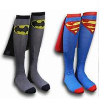 Wholesale blue wonder black - Mens underwears Long Socks Superman Spider-man Wonder Woman Unisex Football Socks Soccer Sport sock Super hero Clothing