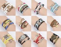 Wholesale anchor rope bracelet for sale - Group buy DIY Friendship Gift Ropes Bracelet Womens Mens Genuine Leather Anchor Wrap the Christmas Gift