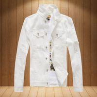 Wholesale men s black denim jacket - New Arrive Branded Rock Punk Vintage Hole Denim Jacket Men's Trendy Single-Breasted Denim Jacket Frayed Coat Streetweer