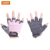 guantes de medio dedo calientes al por mayor-Boer emparejado gimnasio deporte gimnasio ejercicio levantamiento de pesas mujeres medio dedo guantes cálidos medio dedo guantes de almeja venta caliente moda