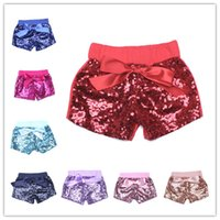 Wholesale Gold Sequin Trousers - Toddler baby sequins shorts for summer girls satin bowknot short pants kids boutique shorts childrens candy trouser gold hot pink blue black