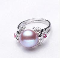 ingrosso anello rubino naturale argento-Gioielli in perle da 10-11mm, anelli di perle naturali per amore, anello in argento 925 con perla d'acqua dolce, anelli in argento con rubini per confezione regalo donna