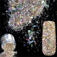 Wholesale art hexagon glitter online - 5g Box Laser Nail Glitter Powder Sequins Holo Hexagon Nail Glitter Paillettes Art Sparkles Manicure Dust
