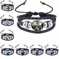 Wholesale moonlight jewelry - Moon Wolf Howling Handmade Glass Cabochon Woven Leather Bangles Mens Black Cool Punk Animal Bracelet Jewelry Moonlight Gemstone 320054