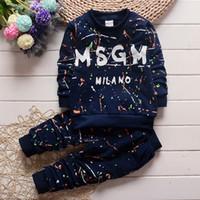 pantalones de camuflaje para niños al por mayor-Bebé niños niñas traje de camuflaje suéter 2018 primavera otoño niños jersey + pantalones 2 UNIDS bebé chándales niños Ropa conjunto