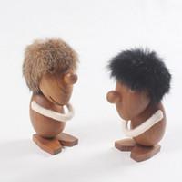 jouet à outils en bois achat en gros de-Naturel En Bois Optimiste Et Pessimiste Poupée Jouets Figurines En Bois De Teck Créatif Statues Modèles Home Decor Arts et Artisanat Outils