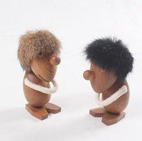 ingrosso giocattolo di legno-Ottimista di legno naturale e giocattoli di bambola pessimista Figurine in legno di teak Modelli di statue creative Home Decor Arti e strumenti di artigianato