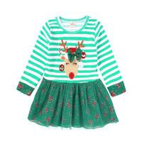 vestidos de tutú verde al por mayor-Green Stripe Christmas Baby Girl Dress Ciervos Niños Ropa de Navidad Niñas Vestido de Bola Vestidos Tutu Florales Muletas Falda Caña Traje Faldas