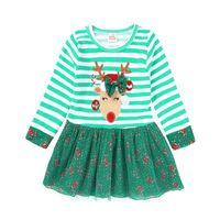 xmas etekler toptan satış-Yeşil Şerit Noel Bebek Kız Elbise Geyik Çocuk Noel Giysileri Kızlar Balo Çiçek Tutu Elbiseler Koltuk Değnekleri Şeker Kamışı Kıyafet Etekler