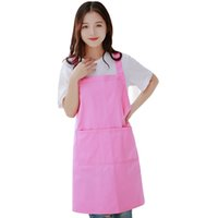 Wholesale cute aprons pockets resale online - Woman Girl Princess Cute Pink Work Barbecue Gardening Home Apron With Pockets Cotton Nursery Painting Drawing Delantal Tablier