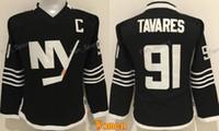 nouveaux maillots de hockey sur glace noirs achat en gros de-Femmes John Tavares Jersey 91 New York Islanders Femme Maillots De Hockey Sur Glace Black Premier Alternate Tous Cousu Mode Meilleure Qualité En Vente