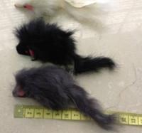Wholesale black rabbit toys resale online - pet toy cat toy big rabbit fur mouse long fur for cat CM black grey white