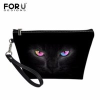 Wholesale makeup holders resale online - D Black Cat Printing Women Make up Case Fashion Brand Travel Holder Makeup Bags Cosmetic Bags Storage Pouch Bags