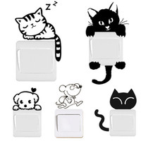 Wholesale Cute Light Switch Stickers - Switch Decal Wall Stickers DIY Funny Cute Black Cat Dog Rat Mouse Animls Home Decals Bedroom Kids Room Light Parlor Decor