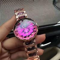relógio pulseira roxa venda por atacado-Senhoras da moda relógios com diamante roxo preto luxo mulheres assistem subiu de ouro pulseira de aço inoxidável relógio de pulso da marca feminina relógio montre